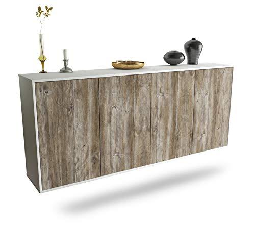 Dekati Sideboard Lakewood hängend (180x77x35cm) Korpus Weiss matt | Front Holz-Design Treibholz | Push-to-Open