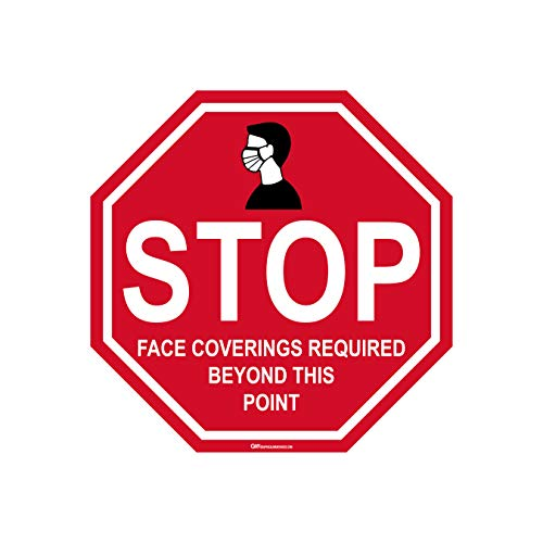 'Stop Face Coverings Required Beyond This Point' COVID-19 (CORONAVIRUS) Adhesive Durable Vinyl Decal- (Various Sizes Available) Sign by Graphical Warehouse- Safety and Security Signage (14x14', 1)