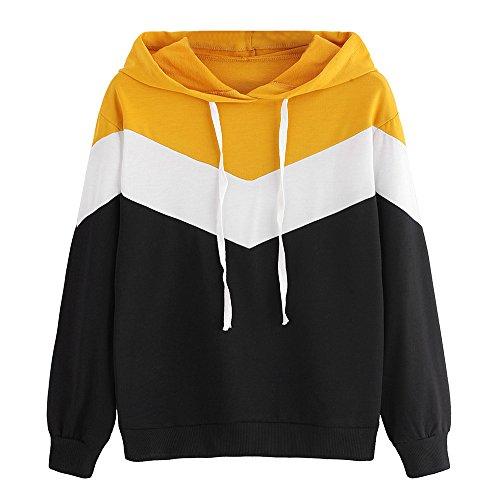 Yvelands Liquidation Femme Col à Capuche Manches Longues Couleur De Contraste Couture À Capuche Sweat-Shirt(S,Noir)