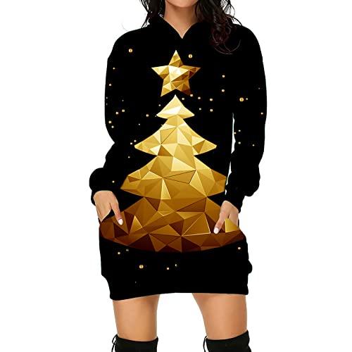 WANGTIANXUE Vestido de Navidad para mujer, con capucha, manga larga, con capucha, minijersey, vestido de Navidad, blusa, otoño e invierno, falda estrecha 2021, Negro , S