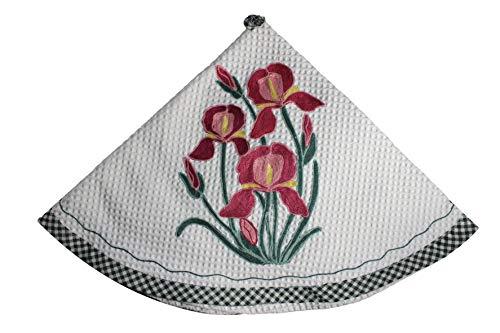 RICAMI FIORENTINI BALDI Toallas redondas de cocina, nido de abeja, algodón 100% con bordado. Producto artesanal Toscano (lirios burdeos)