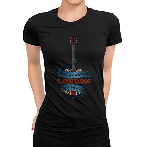 TeezoneDesign dames T-shirt Londen gitaar stad muziek ontwerp kleding lijn