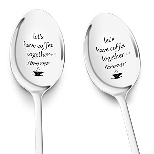 Waful Engraved Coffee Spoons  Let#039s Have Coffee Together Forever 2 Pcs Coffee Spoons Gifts for Him and Her Personalized Stainless Steel Spoons Gift for Coffee Lovers