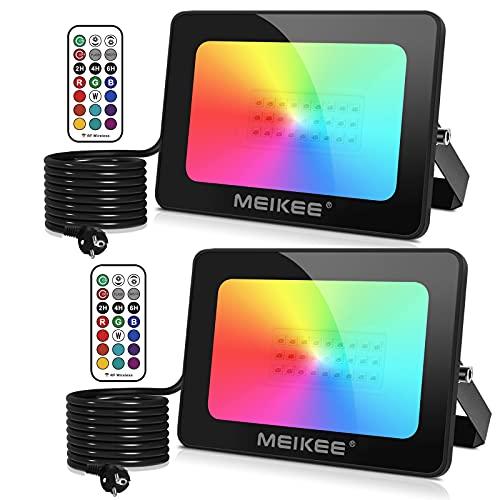 MEIKEE RGB Strahler 25W LED Strahler mit Fernbedienung IP66 Wasserdicht Fluter Farbwechsel Dimmbar Außenstrahler Bunt 12 Farben 2 Modi mit Timer für Garten Party Aussen Baum Stimmungslicht 2Pack