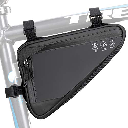 Eyein Bike Triangle Frame Bag, Cycling Waterproof Front Handlebar Bag Strap-On Saddle Pouch Storage Tube Bag With Reflective Stripe for Phone Cash, Repair Tool, Mini Pump Outdoor Sports Riding