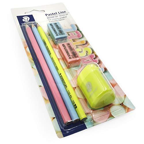 Staedtler Pastel Línea Juego de Pinturas - 3x Lápices Hb, 2x Mini Borradores, 1x Agujero Simple Sacapuntas: Amazon.es: Oficina y papelería