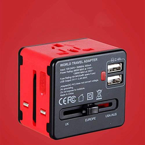 WYKDL Adaptador Universal de Viaje 220V a 110V convertidor de Voltaje con 2-Puerto de Carga USB y Adaptador de Enchufe de Todo el Mundo - los Viajes al Extranjero Europa y los Estados Unidos estándar