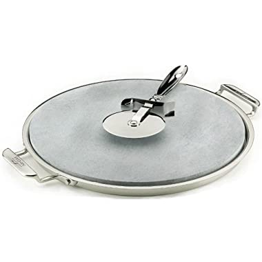 All-Clad 00280 Stainless Steel Serving Tray with 13-inch Pizza-Baker Stone Insert and Pizza Cutter, Silver