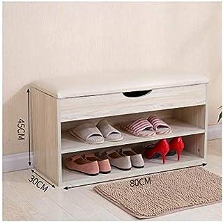 Cabinet de chaussures anti-poussière Cabinet de chaussure en bois, porte-chaussures à chaussures de 2 rangs Banc de rangem...