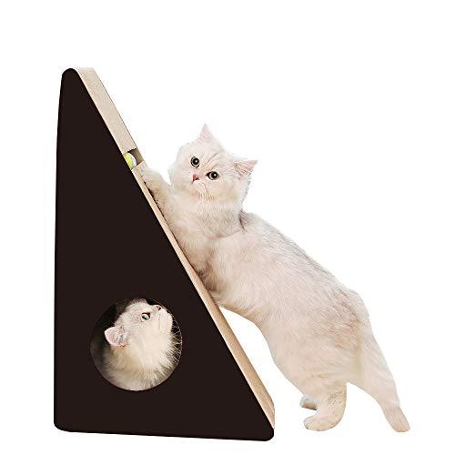 RAKU 猫つめとぎ ダンボール 三角型 ボール付き 猫ハウス 猫ベッド 室内用 耐久性 耐磨耗性 退屈解消 ストレス解消 運動不足 屑が出にくい 安全 高密度 清潔 耐噛み 猫おもちゃ 遊び 寝床 多用途 長持ち お手入れ簡単 猫爪研ぎ ねこハウス ペットの巣 ペットハウス (三角つめとぎ)