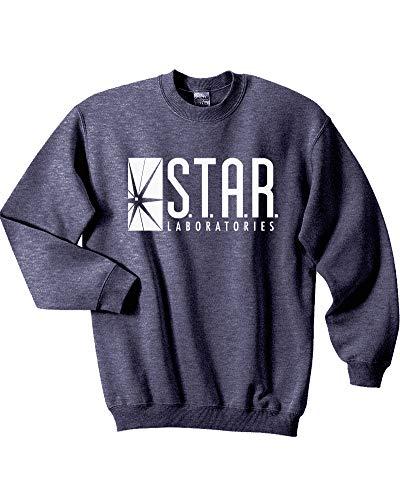 Mars NY Unisex Team Flash Star Labs Crewneck Sweatshirt (Large, Heather Navy)