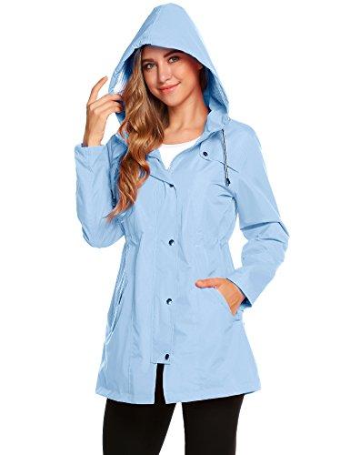 Regenjacke Damen Regenmantel Dünne Kapuzenjacke Lightweight Wasserdicht Outdoor Rain Trekking Funktionsjacke Sport Jacke Outwear Winter