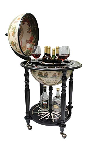 Sixteenth-Century Italian Replica Old World Map Parchment Globe Bar Wine Holder 4 Legs in Black Ivory Finish
