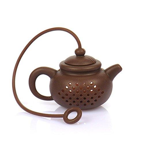 HUVE Kitchen Silikon Tee-Ei, Kreative Silikon Teebeutel Teekanne Form Tee Filter Sicher Reinigung Infuser Tee Werkzeug (Braun)