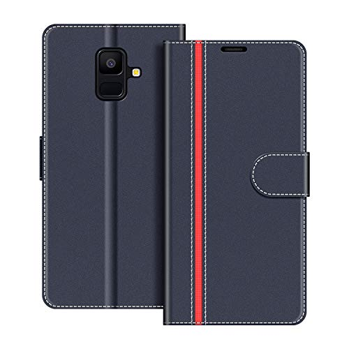 COODIO Funda Samsung Galaxy A6 2018 con Tapa, Funda Movil Samsung A6 2018, Funda Libro Galaxy A6 2018 Carcasa Magnético Funda para Samsung Galaxy A6 2018, Azul Oscuro/Rojo