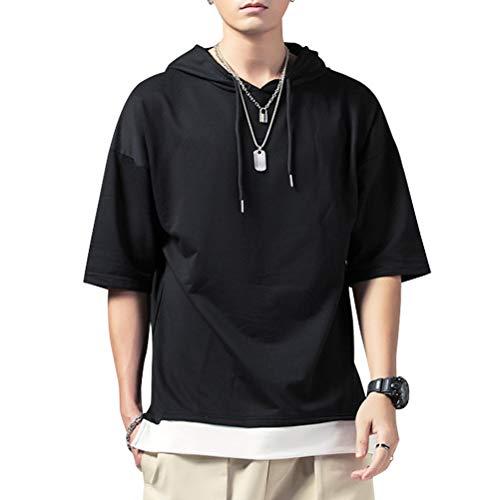 KENAIJING Herren T-Shirt mit Kapuze T Shirt Hoodie Pullover Sweatshirt (Schwarz, 4XL (Gewicht75-80KG -Höhe185-190cm))