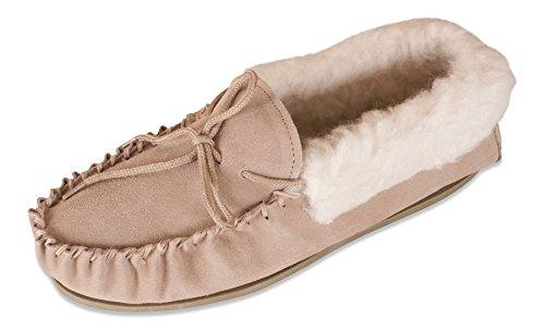 Nordvek - Damen Mokassin-Hausschuhe aus echtem Schaffell mit Wollkragen und Fester Sohle - # 417-100