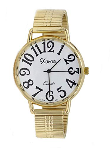 Unisex Gold Tone Stretch Band Easy to Read Watch (Case Diameter 40 mm)