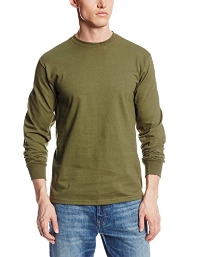 Soffe mens Long-Sleeve Cotton T-Shirt, Olive Drab Green, Large