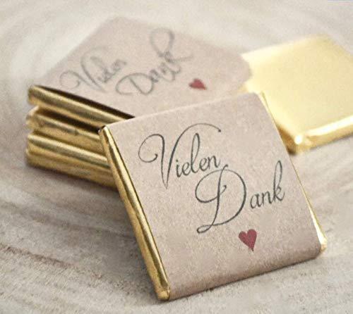 100 x Schokotäfelchen - Vielen Dank - weiße Schokolade - z.B. als Gastgeschenke zur Hochzeit
