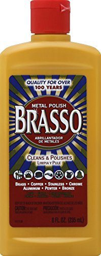 Brasso 10 Multi-Purpose Metal Polish, for Brass, Copper, Stainless, Chrome, Aluminum, Pewter & Bronze, 8 oz, 8. Fluid_Ounces