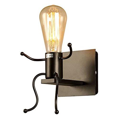 SODIAL Creatif Lampe murale E27 Forme de l'Homme Sconce Lumiere mignon Le fer interieur Applique murale pour Chambre Bureau Cafe Bar Hotel