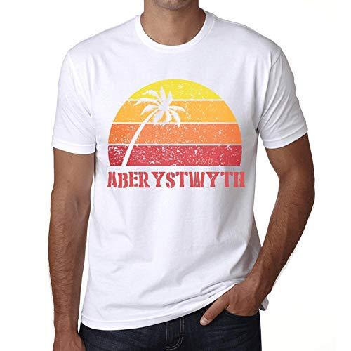 Hombre Camiseta Vintage T-Shirt Gráfico Aberystwyth Sunset Blanco