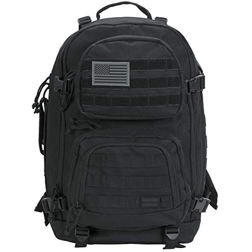 Rockland Military Tactical Laptop Backpack, Black, Large
