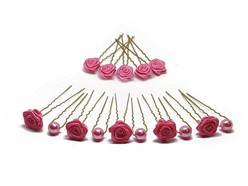 15tlg. Braut - Haarschmuck Set - Brauthaarschmuck | Set-3-G - Pink