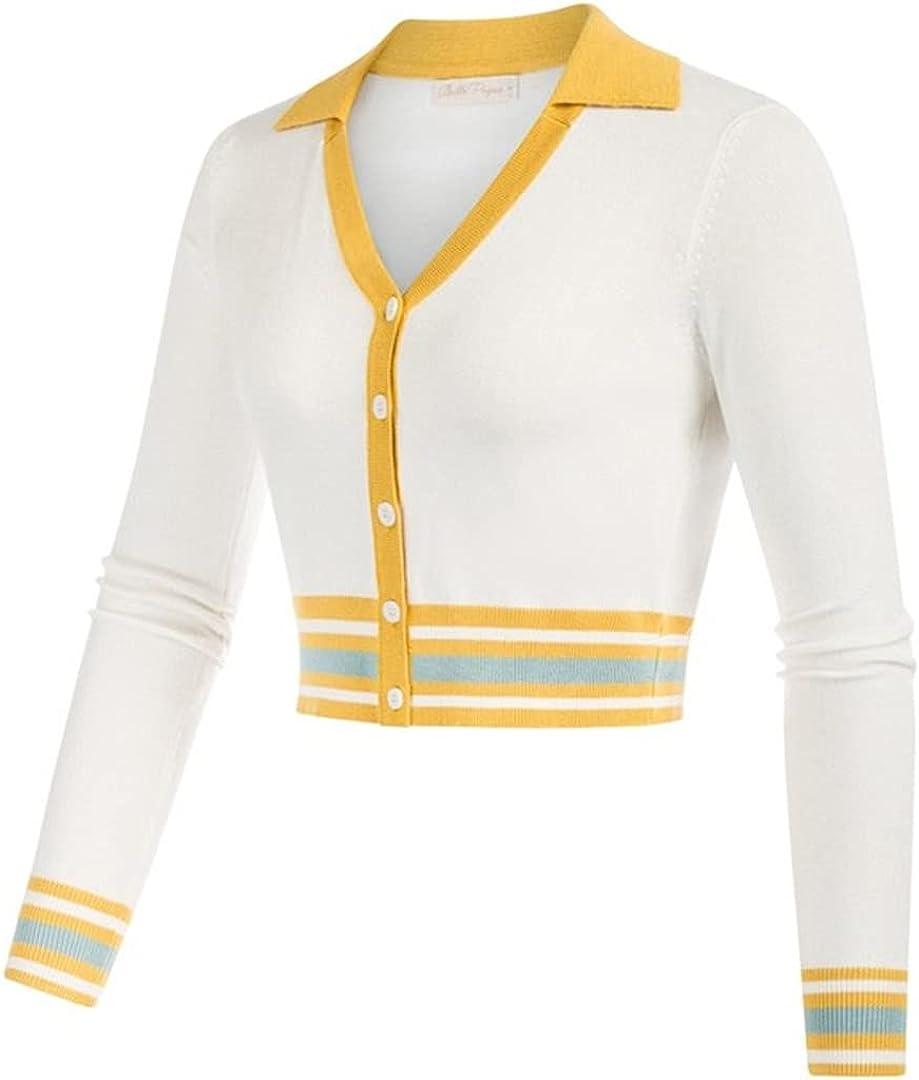 XINDSJDS Women Shrug Bolero Contrast Color Cardigan Sweater Lapel Collar V-Neck Button-Up Knitwear Shirt
