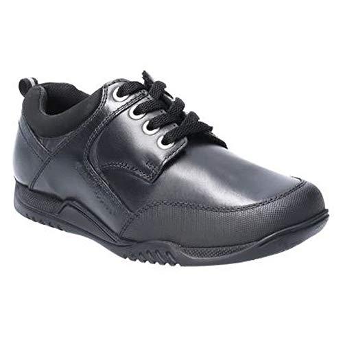 Hush Puppies - Zapatos de Piel con Cordones para el Cole Dexter para nios (32 EU) (Negro)