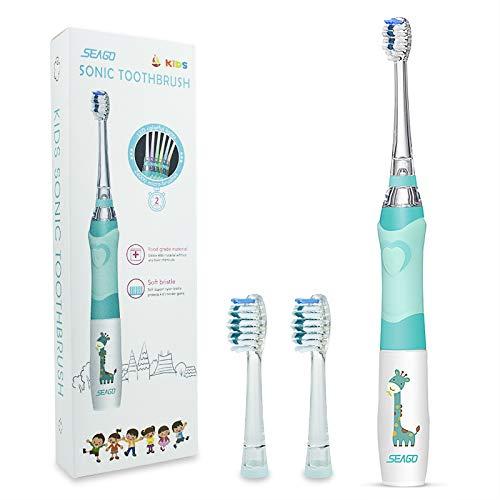 Kinder Elektrische Zahnbürste mit 2 Bürstenköpfen, Batteriebetriebene Elektrische Zahnbürste mit Spaßlicht, Schallzahnbürste mit Weichen Borsten 2 Minuten Schlauer für Jungen Mädchen, Seago EK6 (Grün)