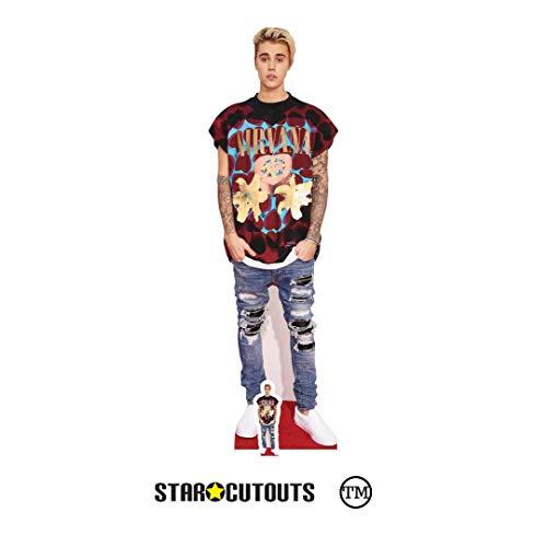 Justin Bieber Aufsteller in Lebensgröße mit Mini-Version, Karton, Mehrfarbig, 176 x 53 x 176 cm