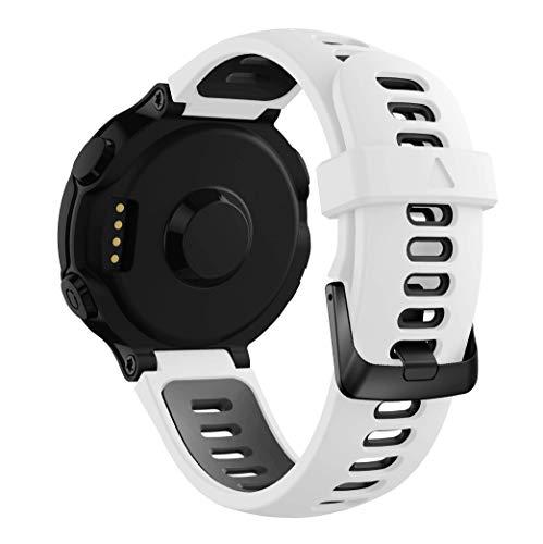Syxinn Compatible con Correa Forerunner 735XT Banda de Reemplazo Silicona Suave Sports Pulsera para Forerunner 735XT/235/220/230/620/630 (Blanco-Negro)