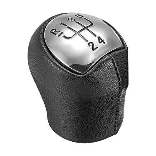 Nrpfell Palanca de Cambio de Marchas de Coche de Cuero Cromado de 5 Velocidades para Clio Espace Kangoo Express Laguna Megane Cabriolet