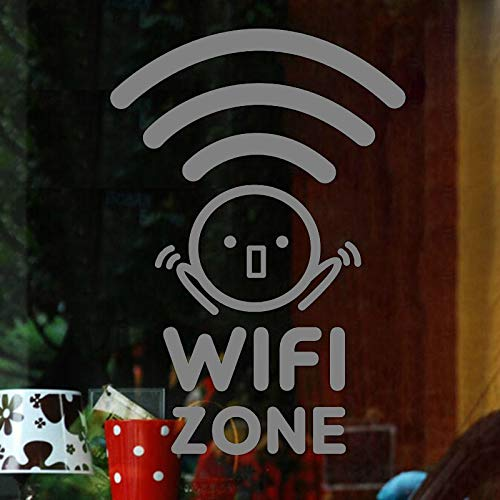 yaoxingfu WiFi Zone Drahtlose Internet Cafe Restaurant Wandaufkleber Vinyl Art Removable Poster Muarl Dekoration Für Bürotür L ww-2 45x64 cm