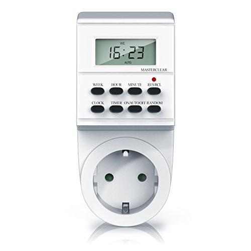 Digitale Zeitschaltuhr - Timer mit 1,5 Zoll LCD-Display - 3680W Steckdosenschalter - 8 on Off Programme - Zufallsschaltung - 12 24h-Modus - integrierter Berührungsschutz - Steckdose - Weiß
