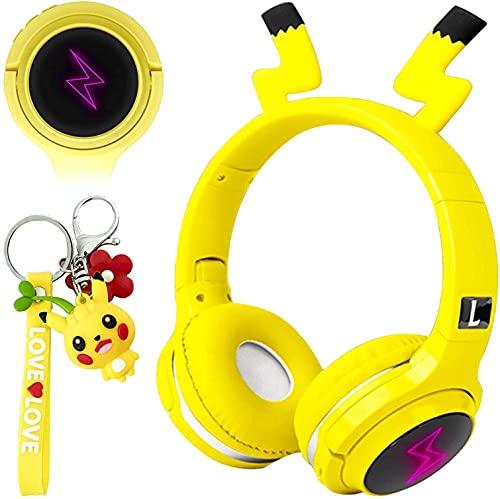 Pikachu - Auriculares inalámbricos con Bluetooth para niños, con micrófono, diadema plegable, para teléfono móvil, tableta, PC, portátil, aprendizaje para niños y niñas, color amarillo