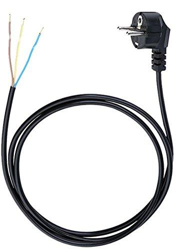 Anschlussleitung Zuleitung Stecker Netzkabel Stromkabel 3-polig 3 x 1,5mm2 (1.5 Meter, Schwarz)