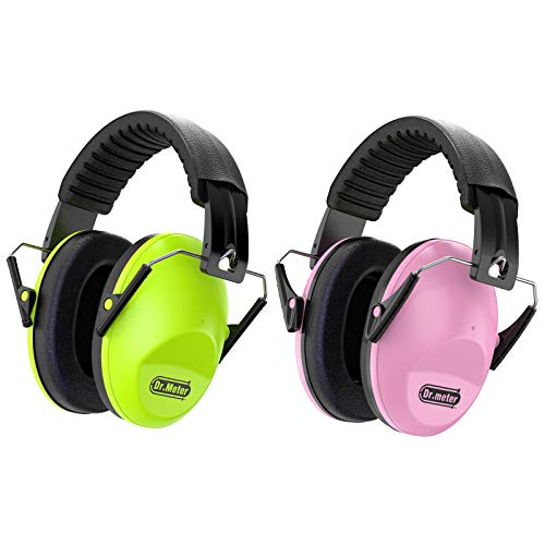 Dr.meter Kids Noise Reduction Earmuffs with 27 NRR Hearing Protection Earmuffs for Shooting Sleeping and Studying, 2 Packs, Green & Pink