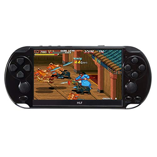 5.1 inch Multi-Function Retro Game Console Handheld Game Console 9600 Games Support Arcade/CPS/neogeo/fc/SFC/gba/gbc/gb/sega Emulator Games can be archived with Rechargeable Lithium Battery (Black)