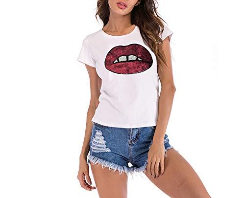Hengheng-shop - playera de manga corta para mujer, diseño de labios europeos y americanos, Rojo...