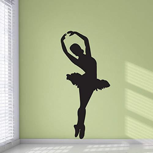 YuanMinglu Balletttänzerin Silhouette Vinyl Wandapplikation Wandaufkleber Tanzstudio Ballerina Tänzerin Studio Wandkunst Raumdekoration Tanz Wandbild schwarz 57x26cm