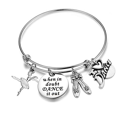 Dance Bracelet Dancer Gift Ballerina Jewelry When In Doubt Dance It Out Expandable Bracelet for Dance Teams, Dance Partner, Best Friend (When In Doubt Dance It Out)