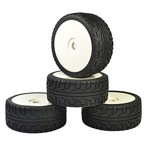 XXLYY Neumáticos de Goma 4PCS RC 1: 8 On Road Car Buggy Plástico Blanco Llantas Ruedas Street Neumáticos HUB Hex 17 mm con Espuma insertada
