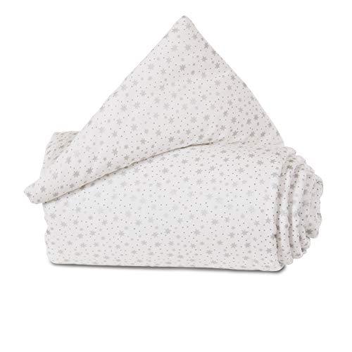 babybay Protection en Coton Organique pour Grille de Fermeture, Tous modèles, Blanc pailleté, Étoiles Blanches Scintillantes argentées