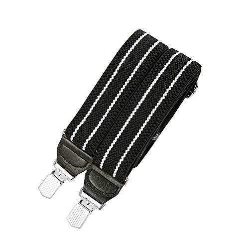 LLZGPZBD bretels 4 cm breed riem voor volwassenen vier clips riem riem dikker man elastisch elastisch