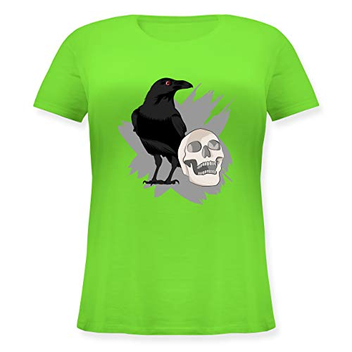 Halloween - Rabe auf Totenkopf - L (48) - Hellgrün - Shirt mit Raben - JHK601 - Lockeres Damen-Shirt in großen Größen mit Rundhalsausschnitt