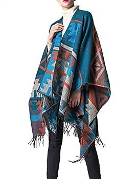 xxxiticat Women s Native American Trendy Cashmere Plaid Pattern Wrap Shawl Cardigan Poncho Cape Scarf BE  Blue