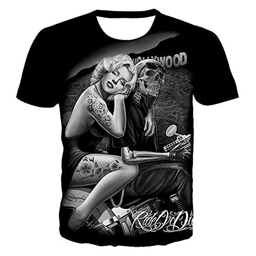 DREAMING-Camiseta de Manga Corta con Cuello Redondo de Verano, Camiseta Casual de Pareja con Estampado Digital de Calavera en 3D 6XL